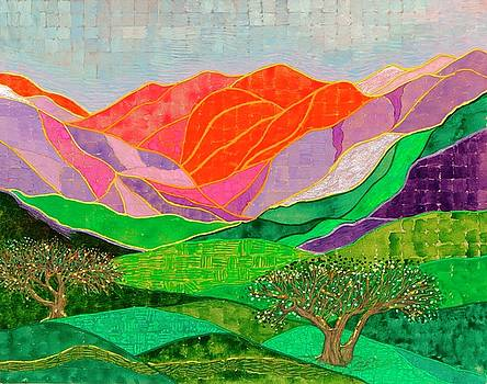 Sunset on Mountains by Sandy Thurlow
