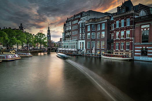 Sunset on the Amstel River in Amsterdam by James Udall
