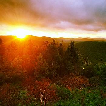 Sunset on the Appalachian Trail over the Vermont Mountains by William Sullivan