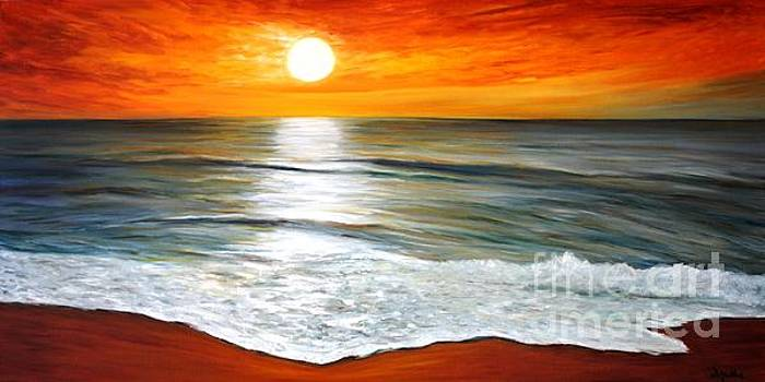 Sunset on the beach by Donna Muller