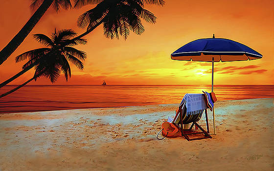 Sunset on the beach by James  Mingo
