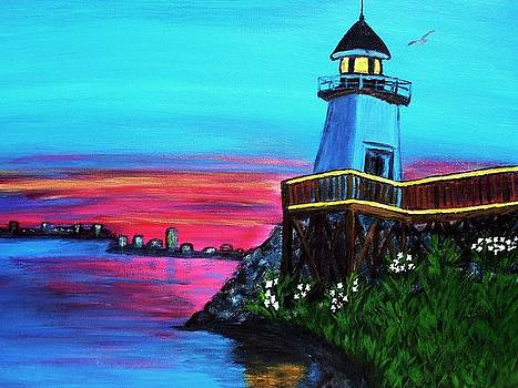 Sunset on the Lighthouse by Vickie Wooten