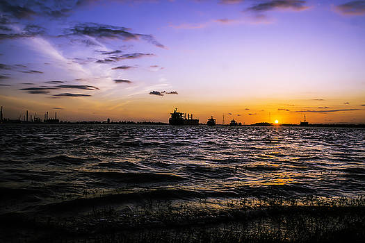 Chris Coffee - Sunset on the Mississippi River, New Orleans, Louisiana