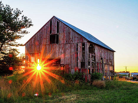 Sunset on the tired barn by Shawn M Greener