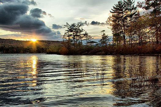 Sunset On Webster Lake  by Betty Pauwels