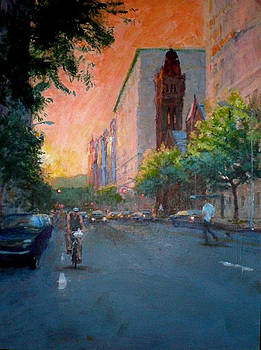 Sunset on West 86th Street by Peter Salwen