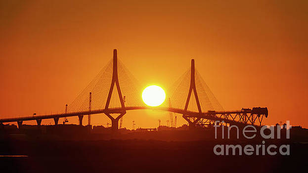 Sunset Over 1812 Constitution Bridge Cadiz Spain by Pablo Avanzini