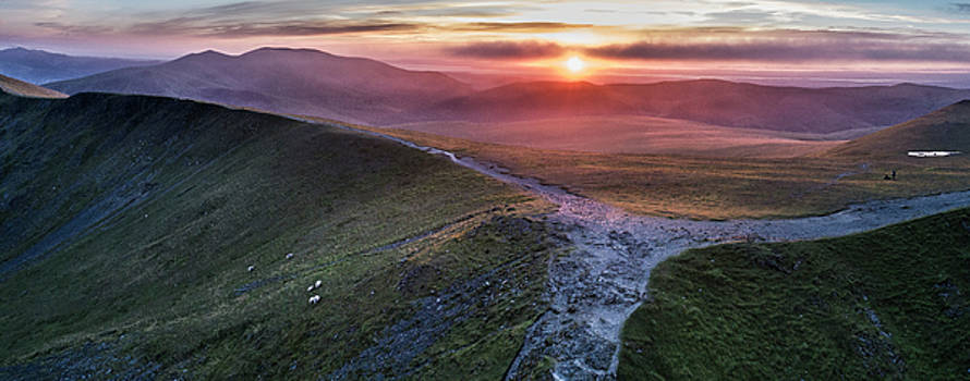 Sunset over Blencathra and Skiddaw by drone from Blencathra by Russell Millner