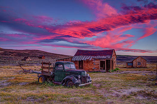 Sunset Over Bodie's Green Truck by Jeff Sullivan