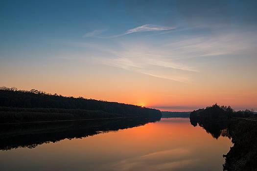Sunset over Desna river. Horytsya, 2014. by Andriy Maykovskyi