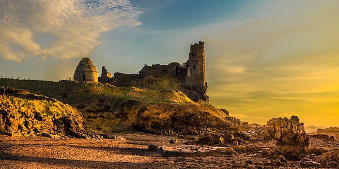 Sunset Over Dunure Castle by Tylie Duff