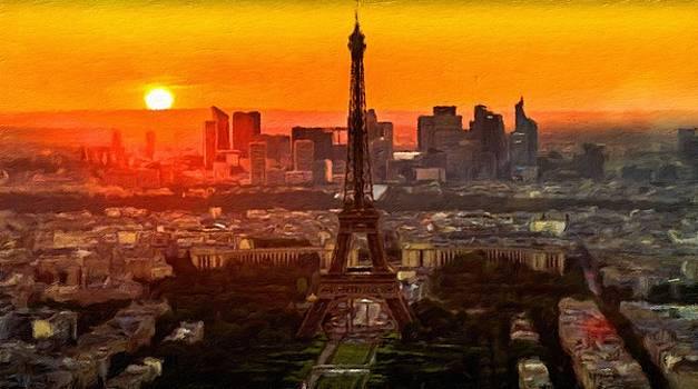 Sunset over Eiffel Tower by Vincent Monozlay