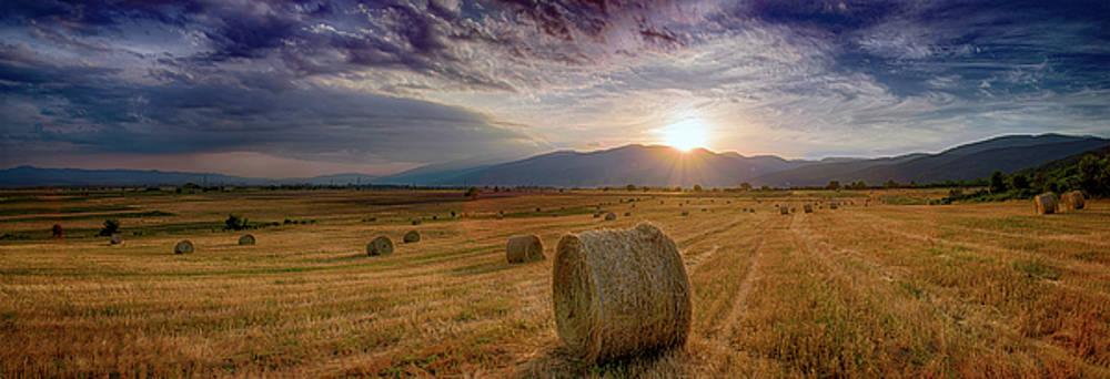 Sunset Over Farm Field 2 by Plamen Petkov