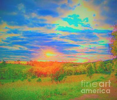 Sunset Over Farm by Shirley Moravec