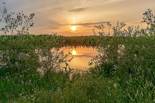 Sunset over Fiddlers Lake by Valerie Pond