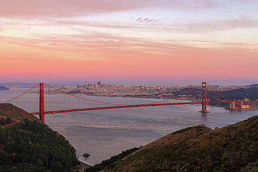 Sunset Over Golden Gate Bridge and San Francisco Skyline by David Gn