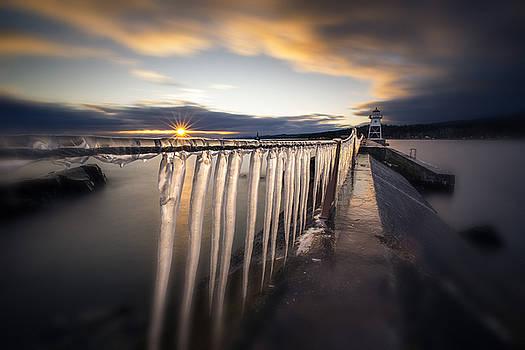 Sunset over Grand Marais Lighthouse Breakwall by Jakub Sisak