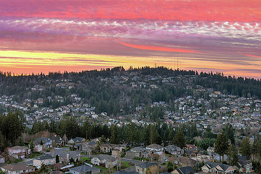 Sunset over Happy Valley Residential Neighborhood by David Gn