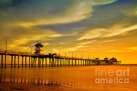 Sunset over Huntington Beach Pier by Peter Dang