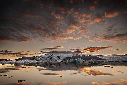 Sunset over Jokulsarlon Lagoon, Iceland by Chris McKenna
