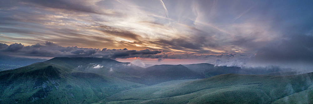 Sunset over Keswick and Skiddaw by drone from Blencathra by Russell Millner