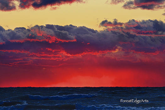 Sunset Over Lake Michigan by Dick Bourgault