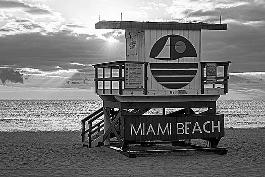 Toby McGuire - Sunset over Miami Beach Miami Lifeguard House Florida Black and White