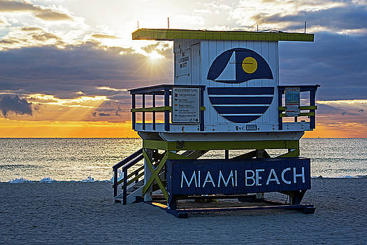 Toby McGuire - Sunset over Miami Beach Miami Lifeguard House Florida