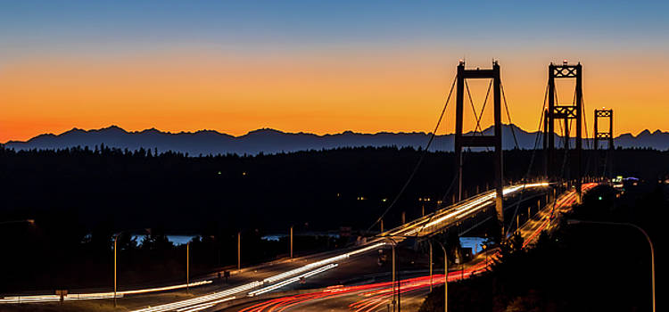 Sunset Over Narrrows Bridge Panorama by Rob Green