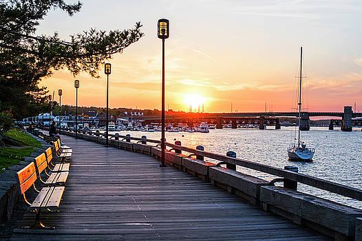 Sunset over Newburyport MA Merrimack River Newburyport Turnpike by Toby McGuire