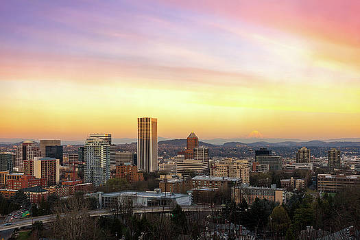 Sunset over Portland Cityscape and Mt Hood by David Gn
