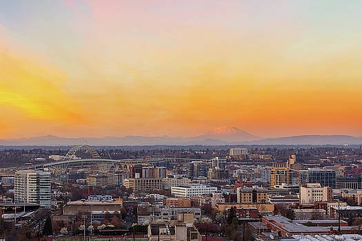 Sunset over Portland Cityscape and Mt Saint Helens by David Gn