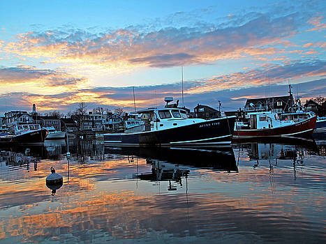 Sunset over Rockport Harbor by Elaine Somers