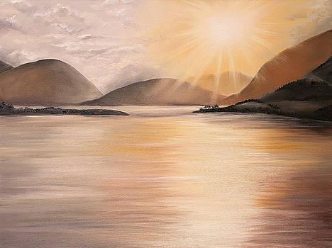 Sunset over Scottish Loch by Elizabeth Lock