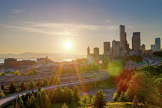 Sunset over Seattle Downtown Skyline by David Gn