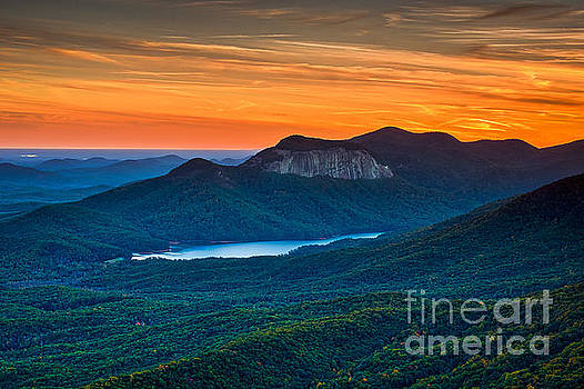 Sunset over Table Rock from Caesars Head State Park South Carolina by T Lowry Wilson