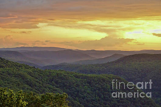 Sunset Over the Bluestone Gorge - Pipestem State Park by Kerri Farley