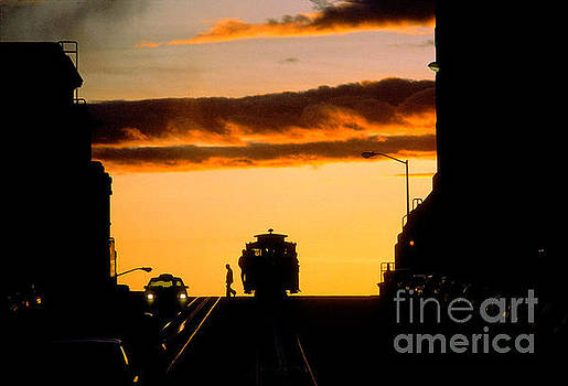Sunset Over the California Street Cable Car Line by Wernher Krutein