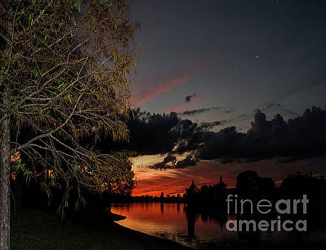Sunset Over the Caloosahatchee by Judy Hall-Folde