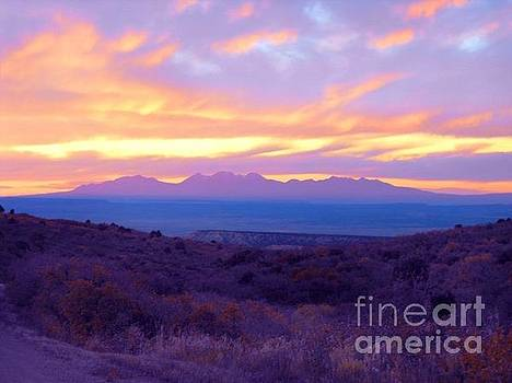 Sunset over the La Sals by Annie Gibbons