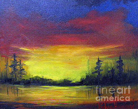 Sunset Over The Lake by Barbara Haviland