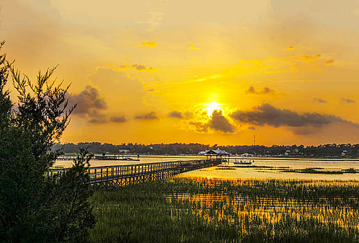 Sunset over the marsh 02 by Terry Shoemaker