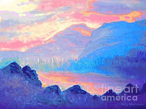 Sunset over the mountains by Holly Martinson