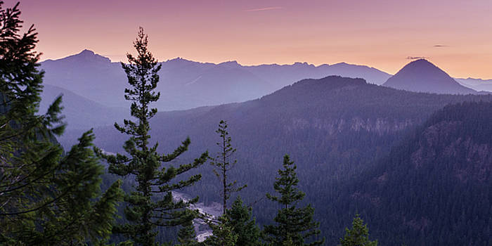 Sunset over the Nisqually River, Mount Rainier by Matthew MacPherson
