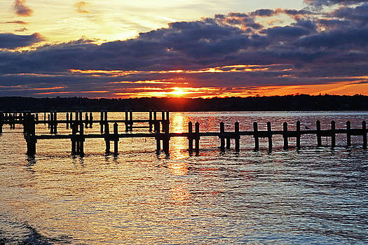Sunset over the Piers in Vineyard Haven Cape Cod Martha's Vineyard by Toby McGuire