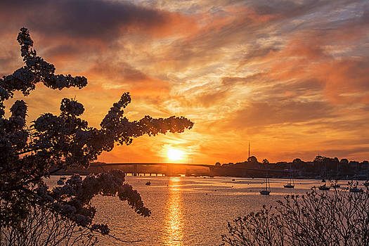 Sunset over the Salem Beverly Bridge From the Salem Willows Salem MA by Toby McGuire
