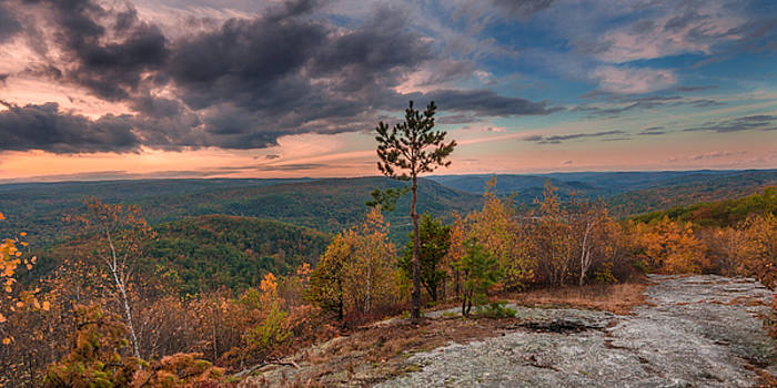 Sunset over the Westfield River valley from Shatterack Mountain, by Matthew MacPherson