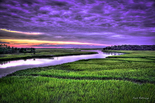 Sunset Over Turners Creek Savannah Tybee Island GA by Reid Callaway
