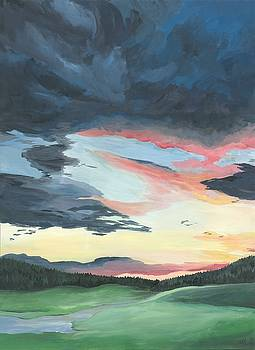 Sunset over Yellowstone by Anne Hockenberry