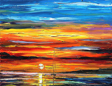 Sunset - PALETTE KNIFE Oil Painting On Canvas By Leonid Afremov by Leonid Afremov